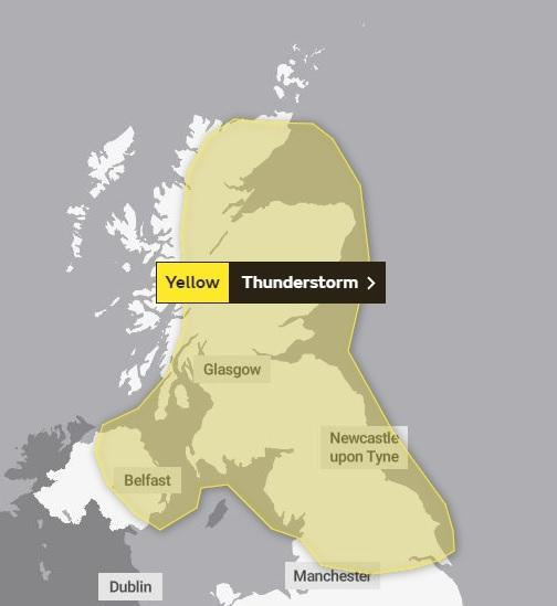 A weather warning for Thursday afternoon and evening has been issued