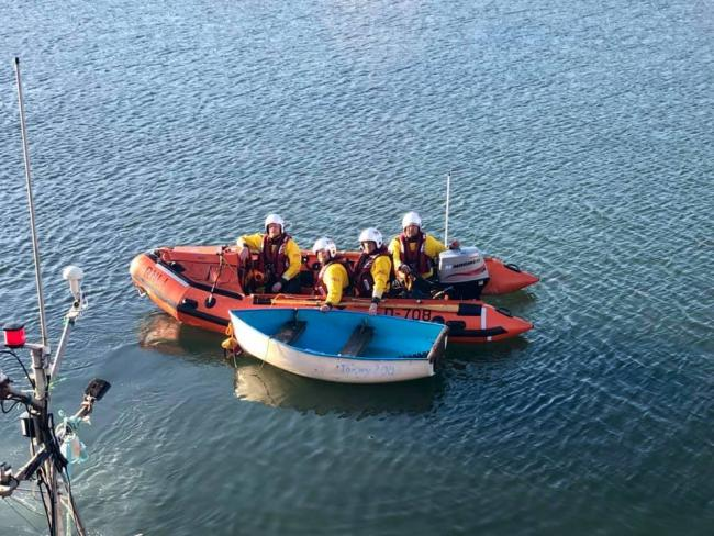 Coastguard and RNLI volunteers were called out to a dinghy which had run aground. Picture: Dunbar Coastguard