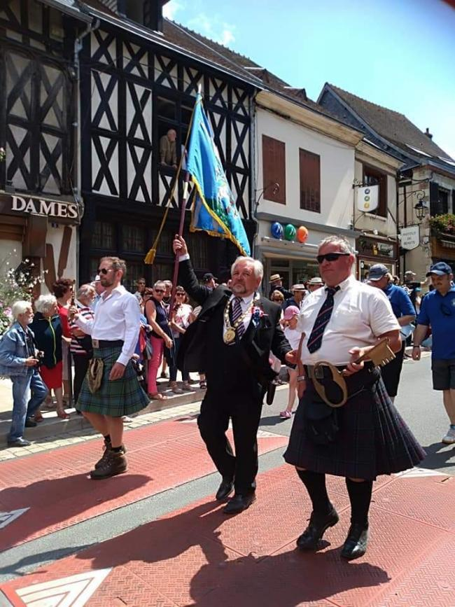 Provost John McMillan was joined by his son Douglas and his brother Jim at the parade in Aubigny-sur-Nere