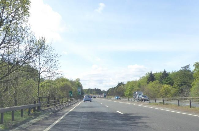 Roadworks are planned for the A1, near Musselburgh. Copyright Alpin Stewart and licensed for reuse under this Creative Commons Licence