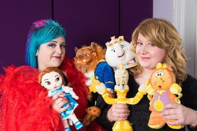 Musselburgh sisters Elaine and Katrina Hunter with some of Vox Stars' favourite Disney characters. Photo: Michael Mullan & Gogse's Photos
