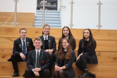 Thomas Leitch and Georgie Cross (front row) have been selected as the head boy and head girl at Dunbar Grammar School. They are pictured with depute heads Ben Totten, Emma Welsh, Alicia Lancaster and Niamh Goldie