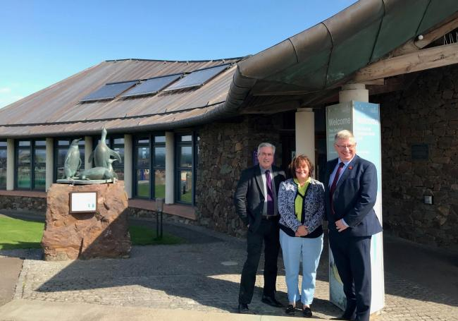 Iain and Martin with Susan Davies outside the Seabird Centre