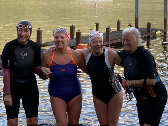 The swimmers (from left) Muriel Campbell, Linda Malcolm, Meg Maitland and Meg Ennis who swam the length of Loch Lomond for charity