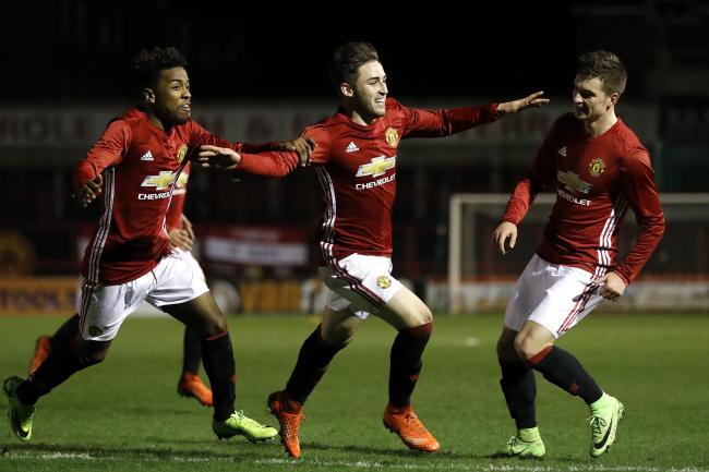 Aidan Barlow celebrates scoring for Manchester United Under-18s