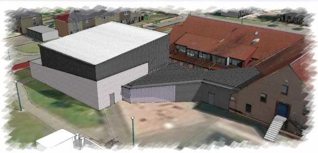 This artist's drawing shows how the new Port Seton sports hall, attached to the Port Seton Centre, will look
