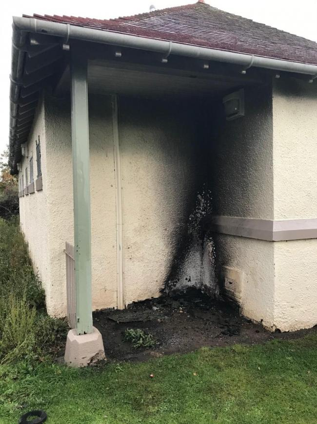 The fire was outside the pavilion in Neilson Park