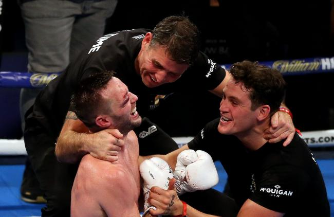 Josh Taylor celebrates winning the super-lightweight unification at the O2 Arena, London, on Saturday. PA Photo. Picture date: Saturday October 26, 2019. See PA story BOXING London. Photo credit: Paul Harding/PA Wire