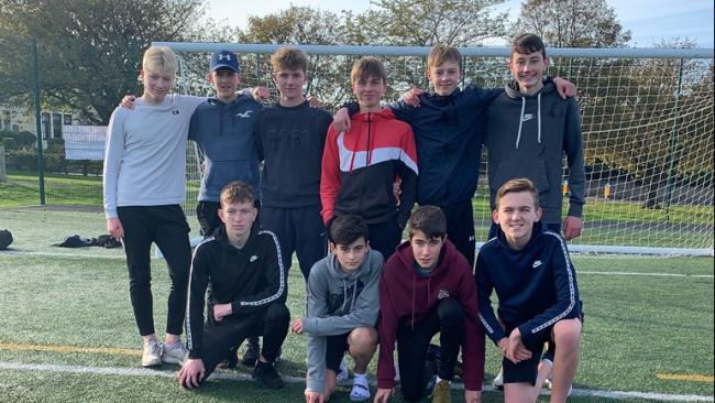 Finn (top row, in red jacket) with the boys who will be taking on the run in memory of Reon.  Also pictured are: Callum Queen, Jack Hamilton, Braden Warner, Euan Corrie, Chris Milne, Daniel Sinclair, Andrew Latto, Ollie Aitken and Gabe Pearce