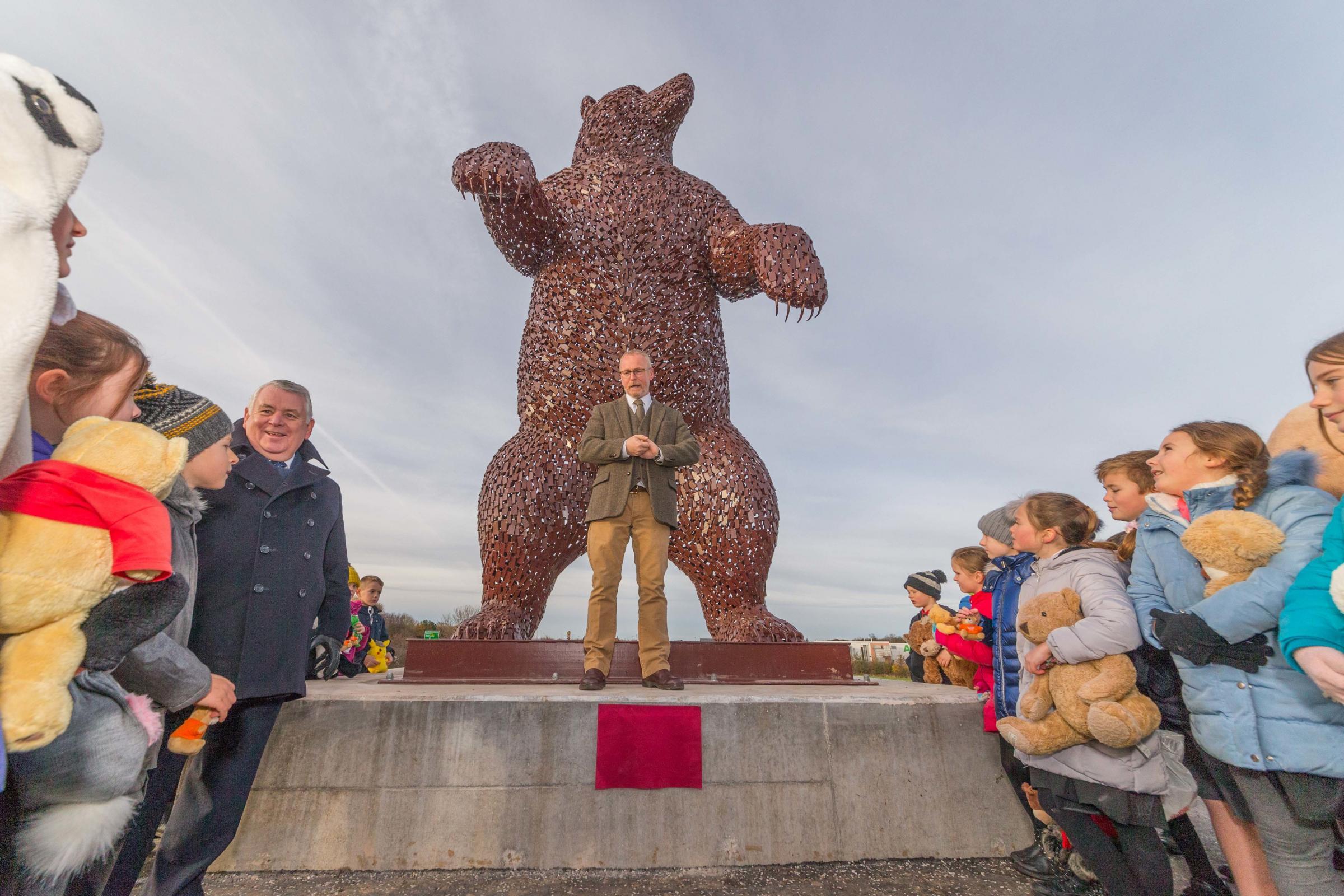 PICTURES: Dunbar's new bear sculpture near A1 unveiled