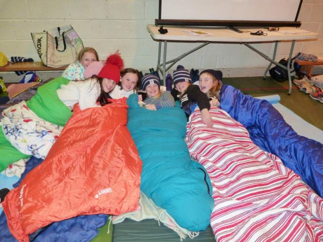 Pupils at Belhaven Hill School swapped their beds for sleeping bags to do their bit for charity