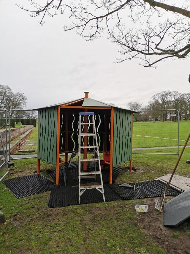 The shelter being built in the Lodge Grounds. Pic: Lauren Cowie