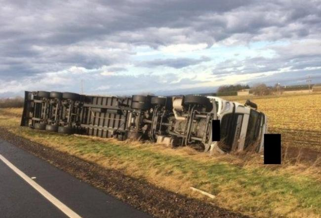 One of the lorries that was blown over on the A1 on Tuesday. Image Traffic Scotland