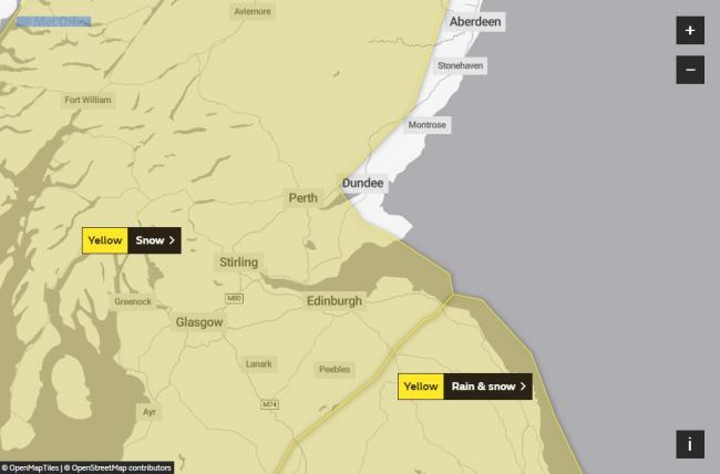 A yellow weather warning covering East Lothian is now in place