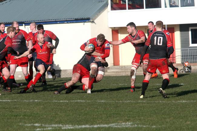 Haddington Rugby Club (pictured here in the red tops and dark coloured shorts) in action last year.