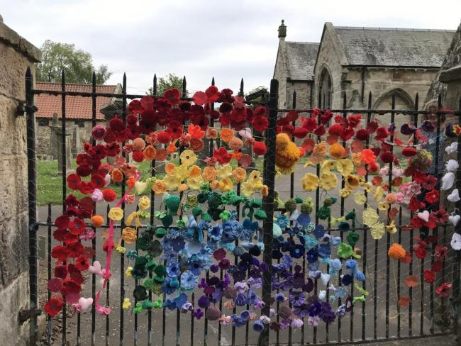A brightly coloured rainbow has been created outside Pencaitland Parish Church