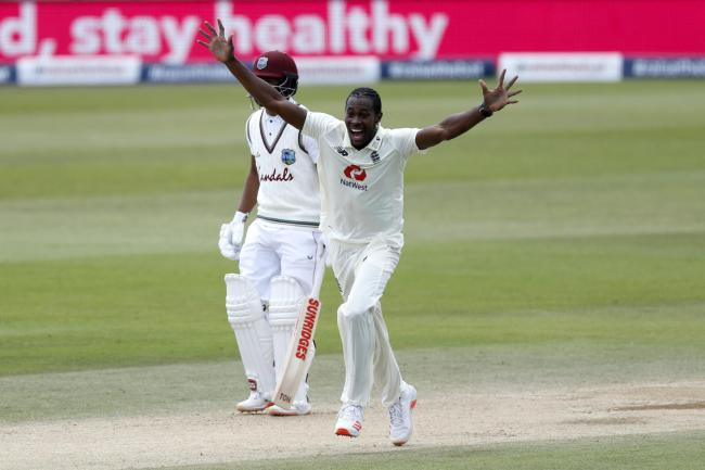 England's Jofra Archer celebrates taking the wicket of West Indies' Shamarh Brooks