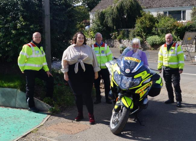 Donations to the Humbie Hub were handed over to Blood Bikes Scotland