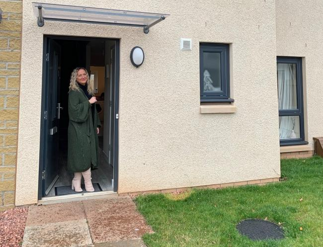 Justine Holmes at her new home at Letham Mains