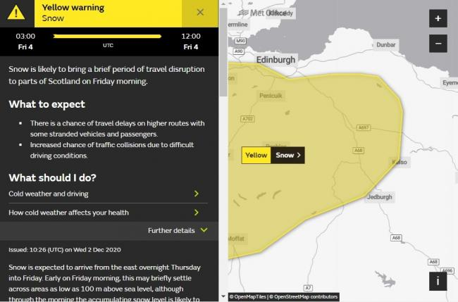 A yellow warning for snow on Friday morning covers part of East Lothian. Image Met Office