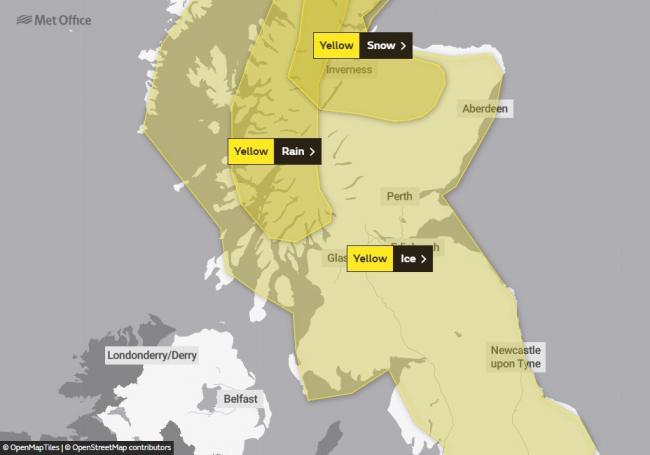 East Lothian, along with the rest of Scotland, has been placed under another weather warning for ice. Image Met Office