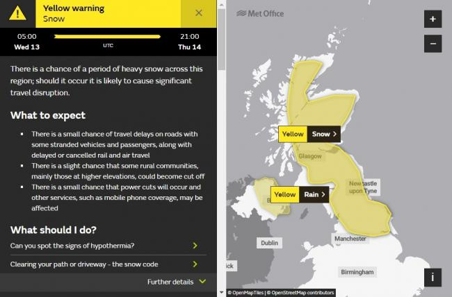 A second yellow 'be aware' weather warning has been put in place by the Met Office, this time for snow later on this week. Image Met Office