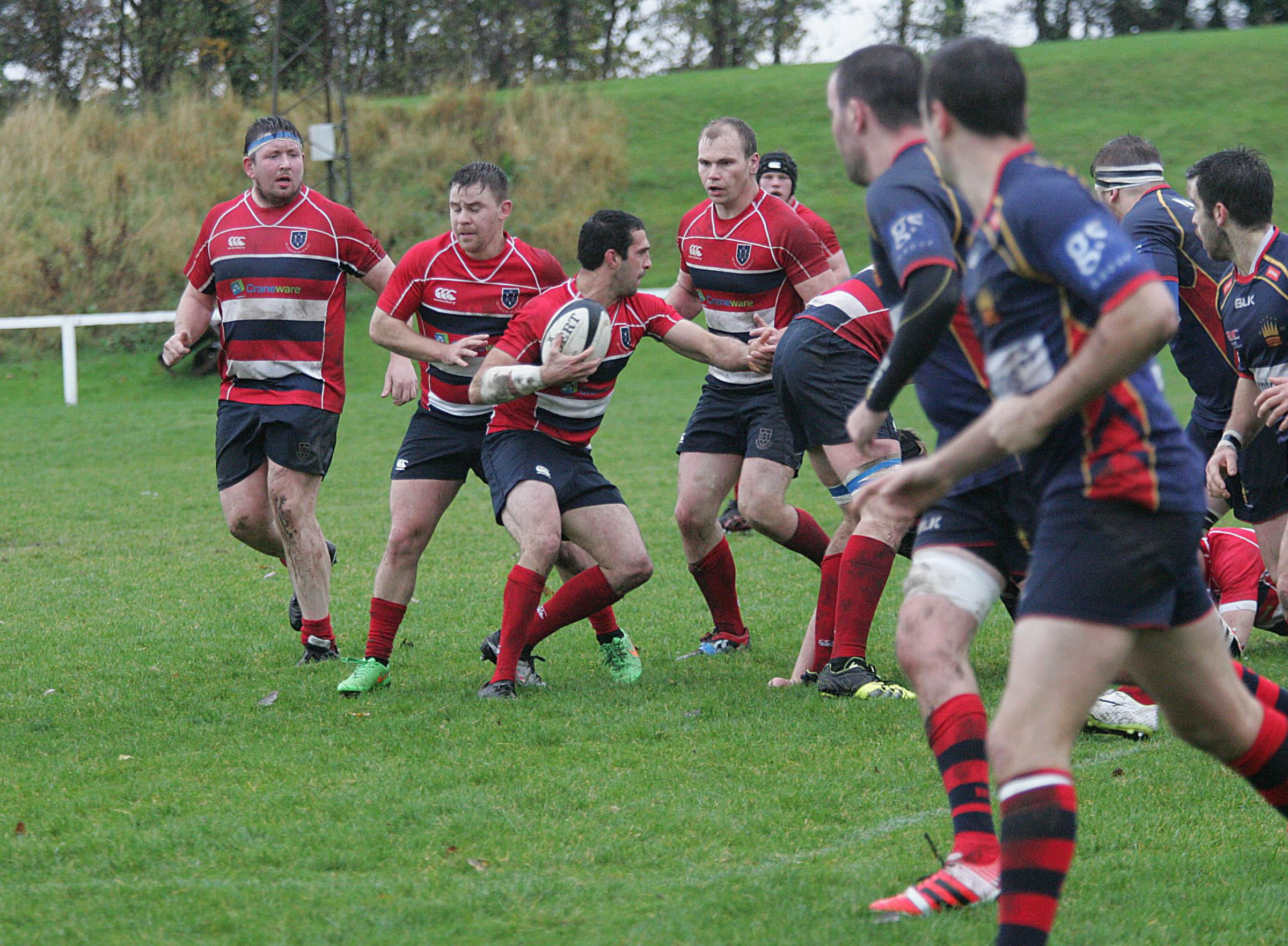 Musselburgh (red), here in action earlier in the season, lost on the road