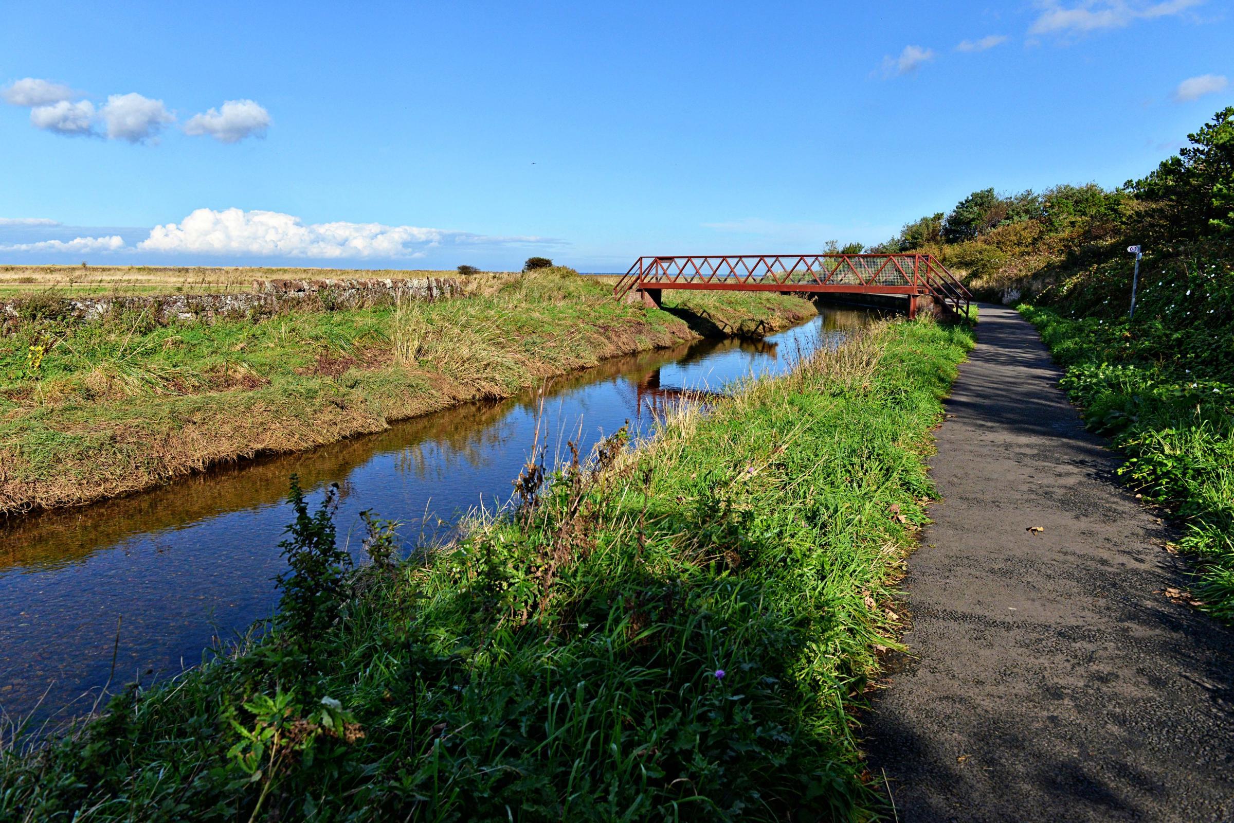 Footbridge across the Biel Water near West Barns is damaged by ...
