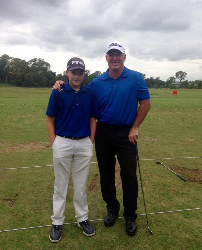 Adam Coull (left played in the Junior Pro-Am at the NSW Open with Peter Lonard