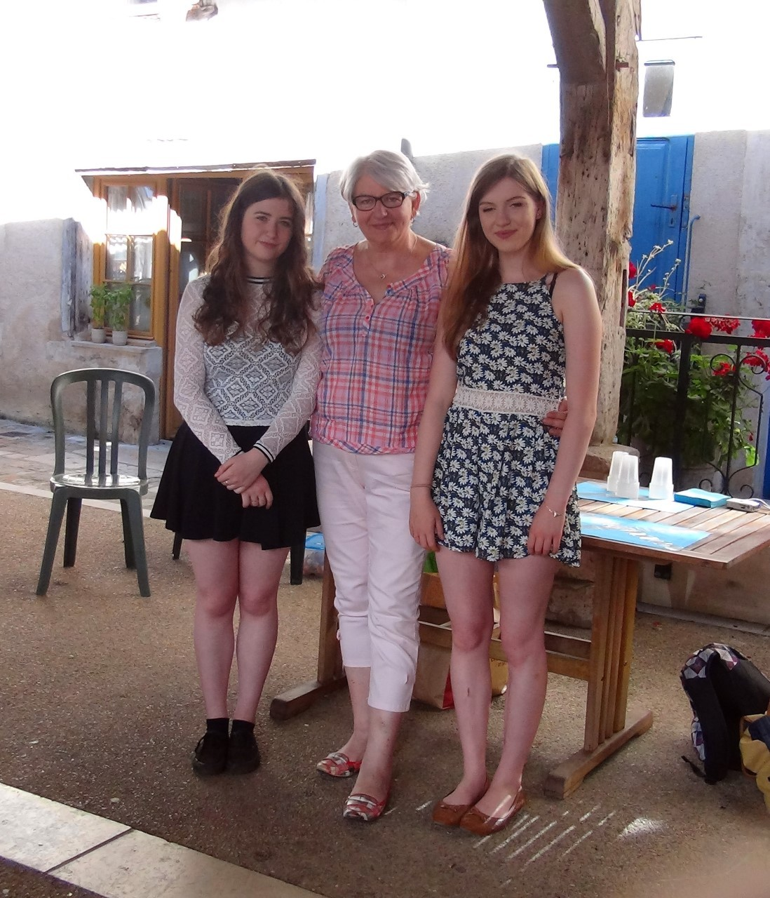 Alex Fairbairn (left) and Anna Stevenson (right) visited Lignieres and were welcomed by Solange Soulat - President of the Lignieres committee