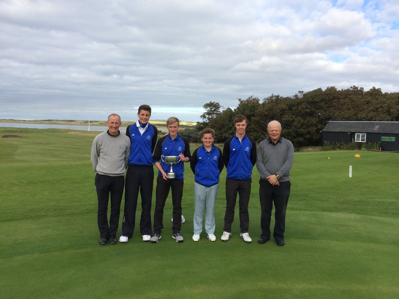 Pictured are, L-R, Martin Black, Junior Convenor Gullane GC, the winning Gullane Team of James Chalmers, William Ladbrooke, Liam Currid, and Darren Howie, and David Warren, League Secretary.