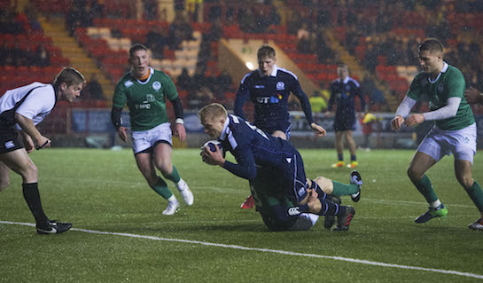 Cameron Hutchison scored on his Scotland U20 debut against Ireland. Pic Scottish Rugby/SNS Group