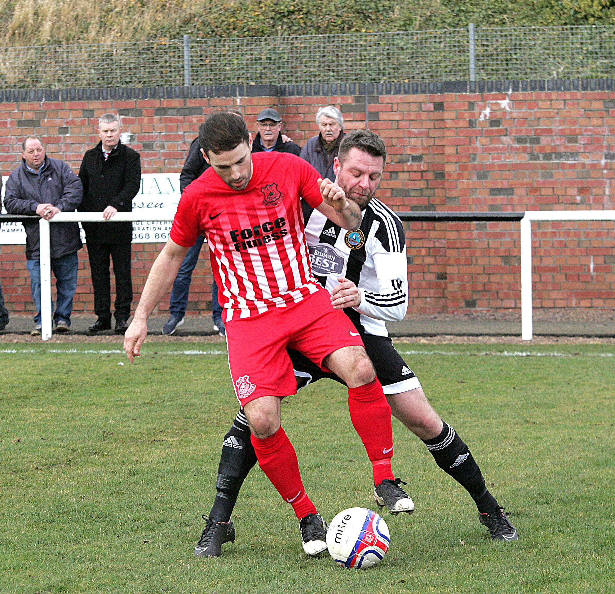 Dunbar (black and white stripes) lost out to Glenafton on Saturday