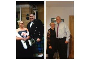The couple before and after the weight loss