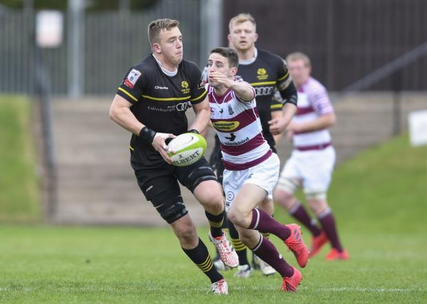 East Lothian Courier: Lewis Carmichael in BT Premiership action for Melrose. Pic Alastair Ross