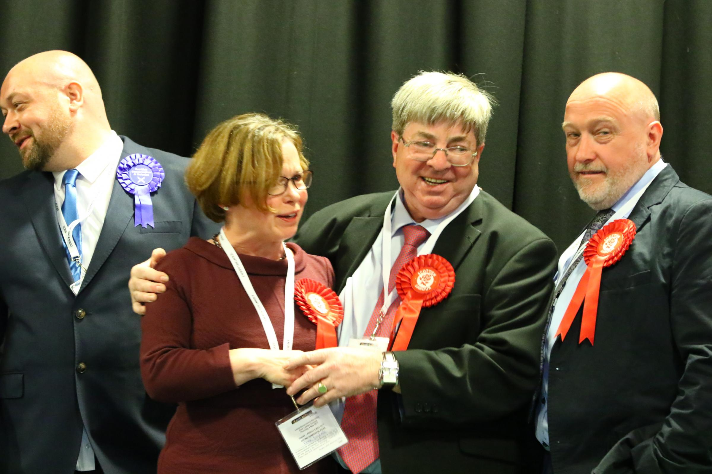 New Labour councillor Fiona Dugdale is congratulated by her party colleague Jim Gillies after her election is announced at last Friday's count in Haddington Corn Exchange