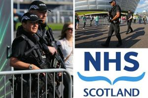 Armed officers at the SSE Hydro in Glasgow, left and top (Credit: Colin Mearns)