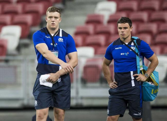 Lewis Carmichael (left) with Lee Jones in Singapore during the summer tour. Pic Scottish Rugby/SNS Group