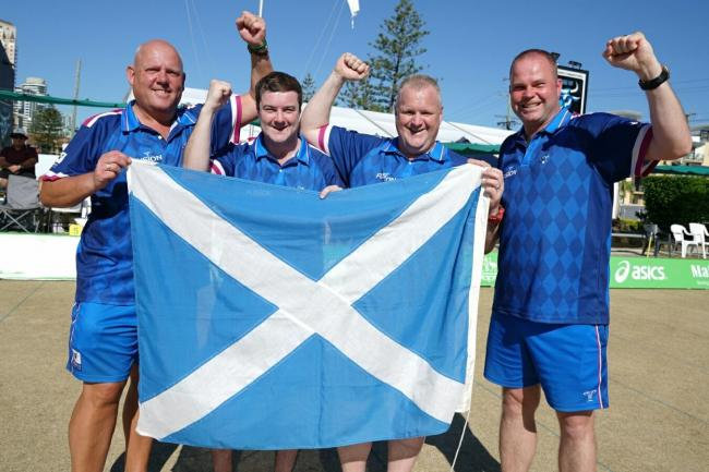 Alex Marshall (left) celebrated a bittersweet victory in Australia. Pic courtesy Bowls Australia