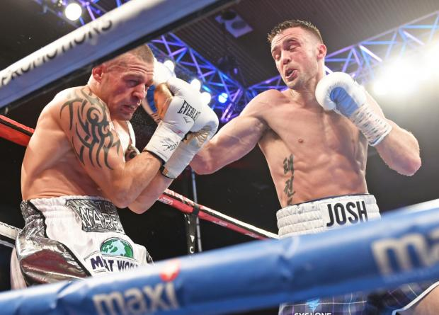 East Lothian Courier: Josh Taylor (tartan shorts) will hope he can repeat this performance when he demolished Warren Joubert inside six rounds