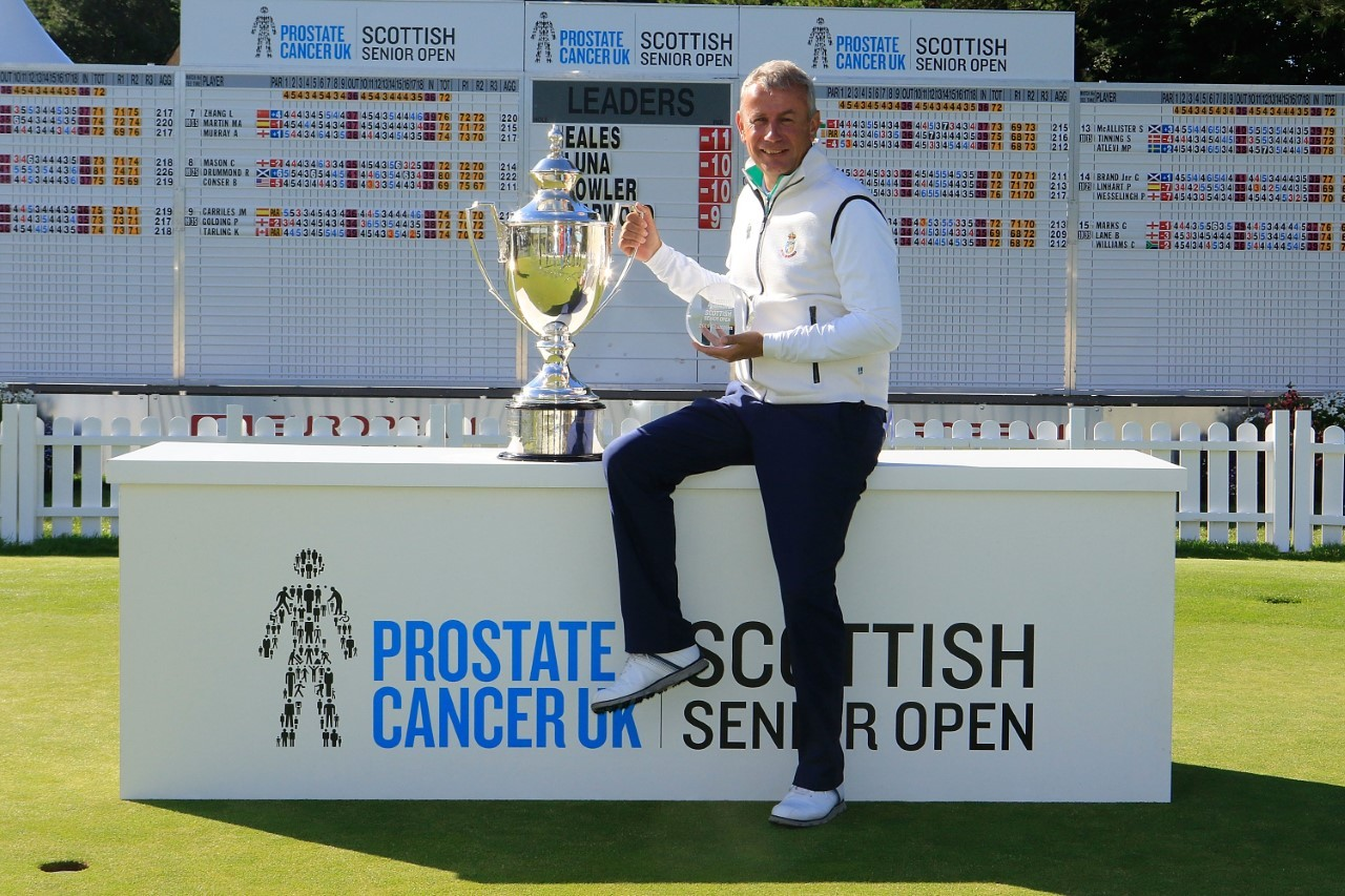 Paul Eales, here with the trophy following his 2016 win, began his first round a short time ago. Pic: Getty Images