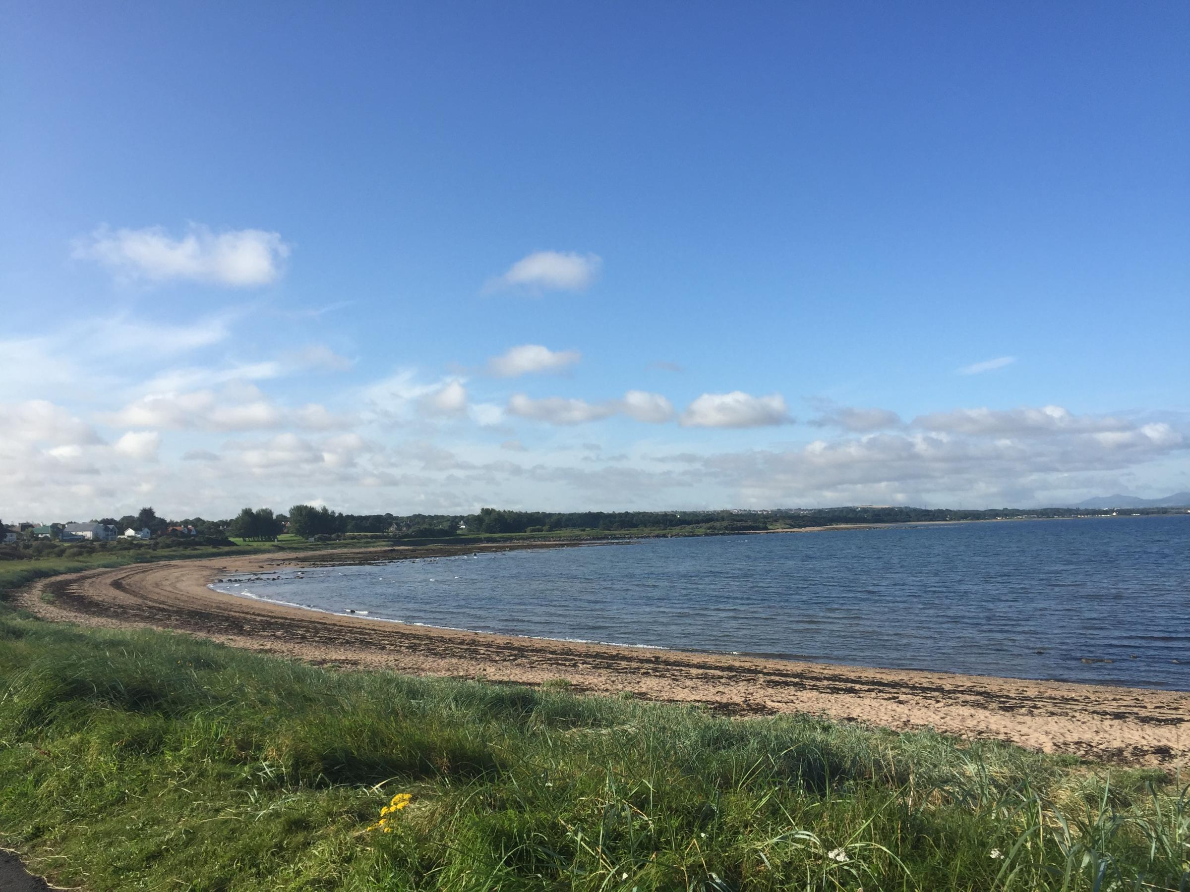The horse rider fell while on the beach at Longniddry Bents