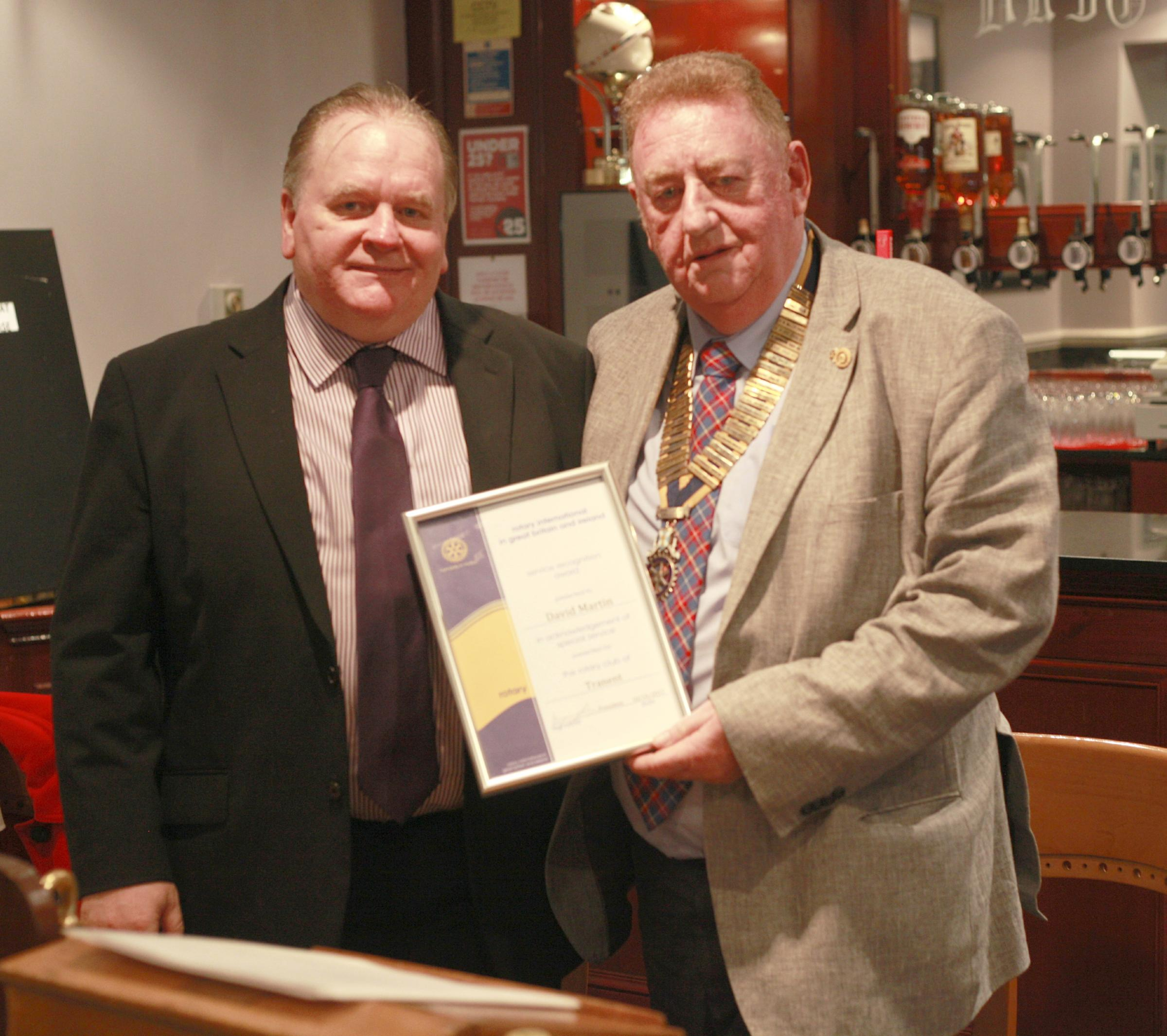 David Martin was presented with an award for all his community work by the Rotary Club of Tranent president Bryson Glass