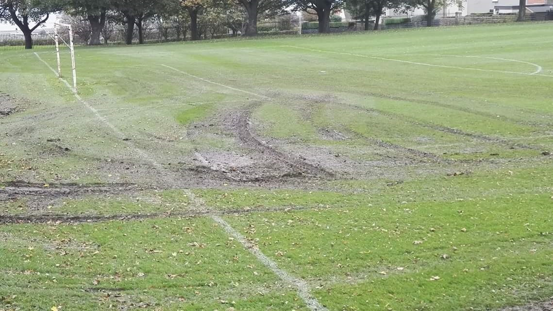 The public pitch at Polson Park has been churned up