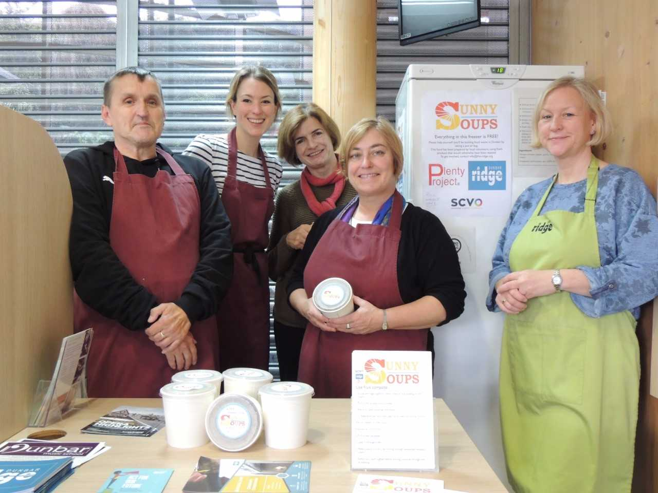 Colin Runciman, volunteer; Hannah Ewan, community cooking teacher; Kate Darrah, managing director, The Ridge; Isobel Knox, volunteer; and Sue Mitchell, manager of The Ridge Cafe, are doing their bit to transform food destined to be thrown out