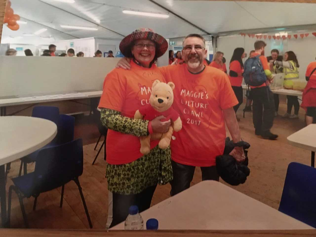 Carol Hudson, along with her cousin Michael Wonnacott and her mum's Winnie the Pooh Bear, completed the Culture Crawl for charity