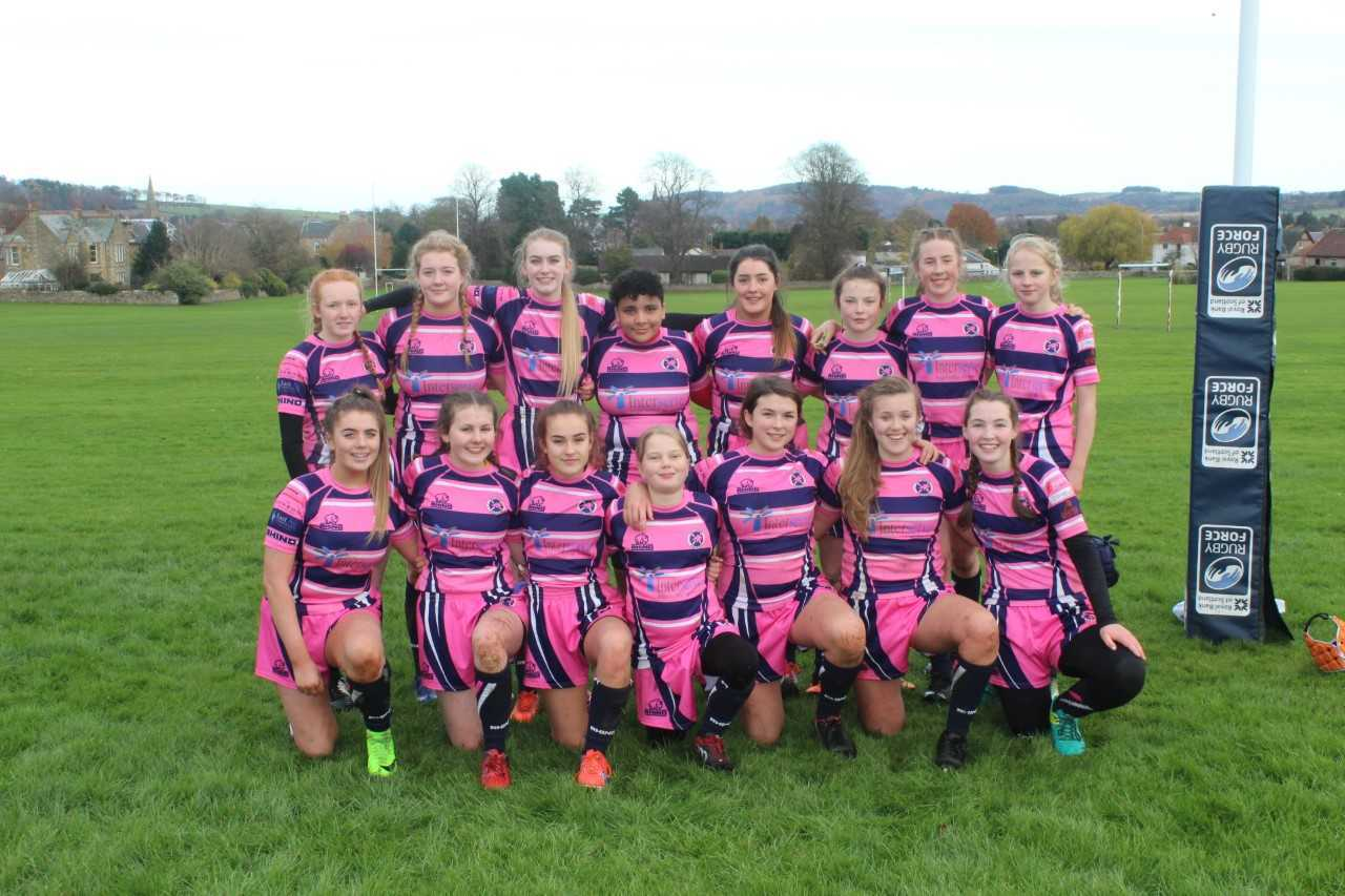 The East Lothian girls rugby team