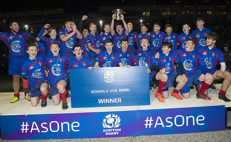 Ross High's U18s show off the bowl after victory over Linlithgow. Image Scottish Rugby