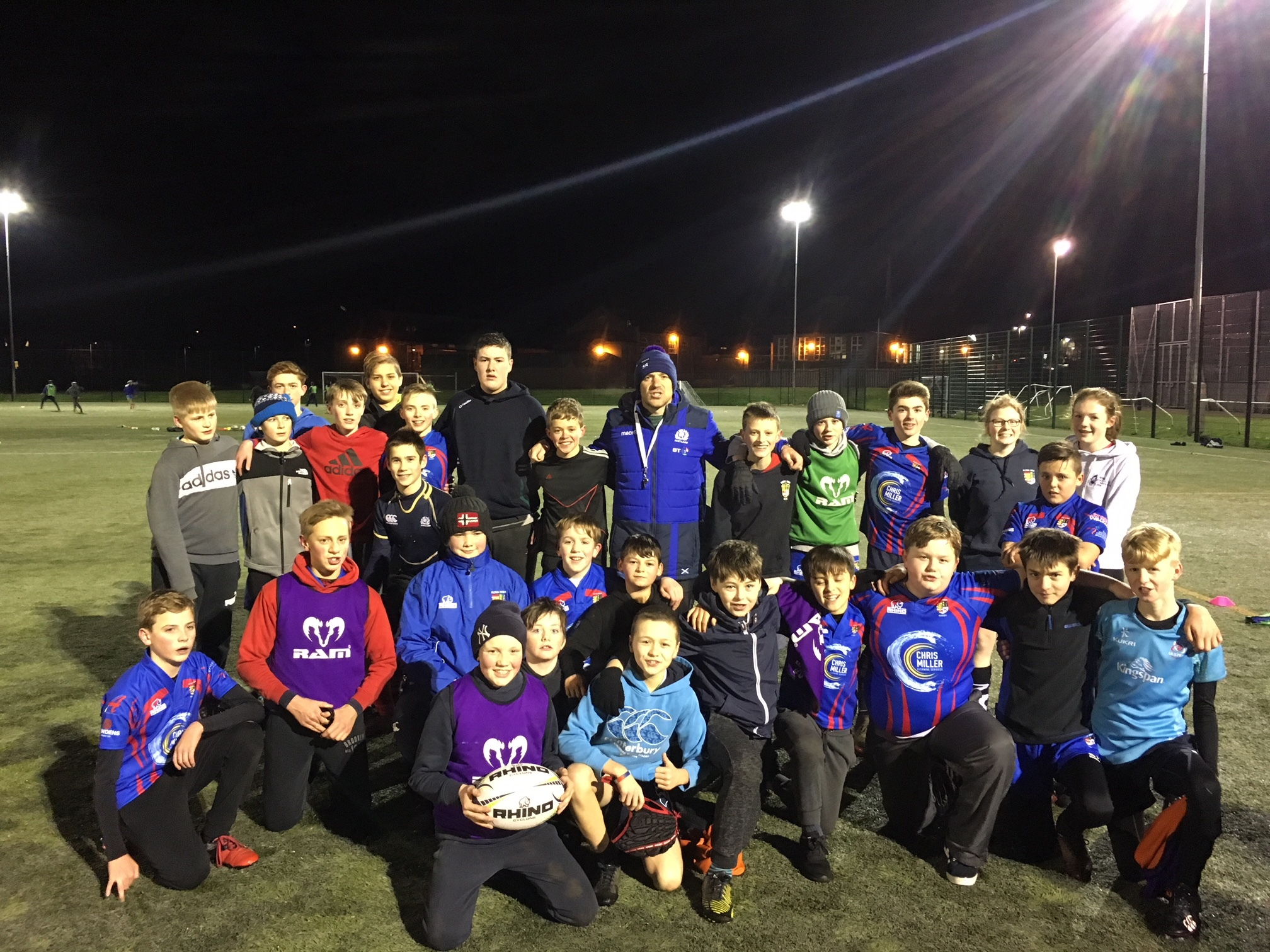 Scotland 7s captain Scott Riddell with Ross High youngsters last week