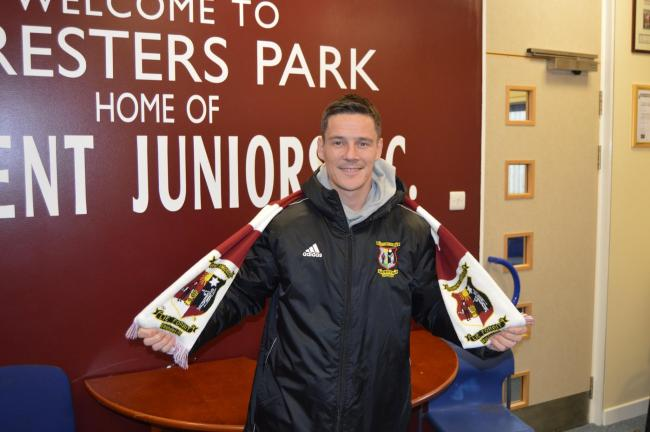 Former Hearts, Rangers and Scotland midfielder Ian Black is unveiled as a Tranent Juniors player. Image Bill Wishart